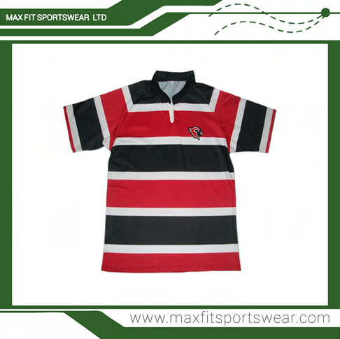 b01ff8d33b Hot sale polyester dye sublimated polo collar stripe rugby jersey rugby  clothing
